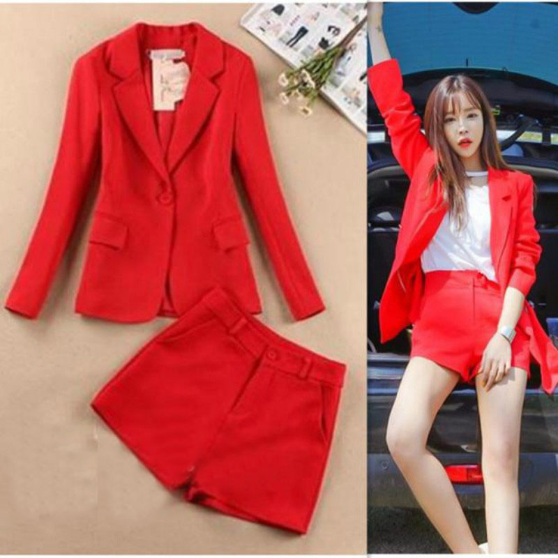 Suit shorts suit female new Korean version of the red temperament OL small suit jacket + shorts fashion casual two-piece