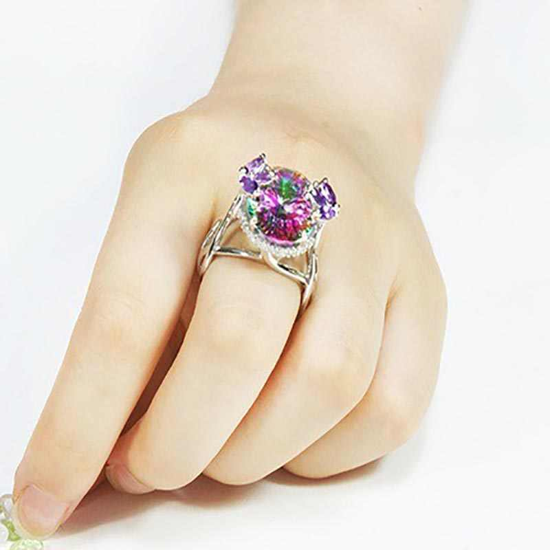 Cellacity 925 Sterling Silver Female ring Top Quality Rainbow Fire Mystic Topaz Gemstone Jewelry Wdding Party Gift  Wholesale