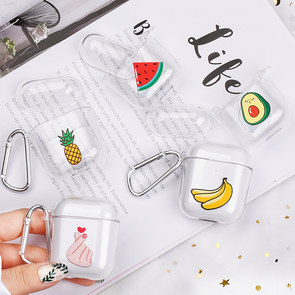 Summer Fruit Pineapple Avocado Strawberry Earphone Accessories PC Transprent Case For Airpods 1 2 Wireless Bluetooth Headset Bag