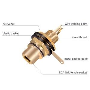 Позолоченный разъем RCA Jack, 1 пара, крепление на панель, аудио разъем, штепсельная вилка с гайкой, припой, оптовая продажа, 2 шт.