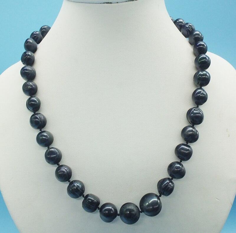 12-13 мм огромное(нить) белое жемчужное ожерелье с южным морем(50 см - Окраска металла: black