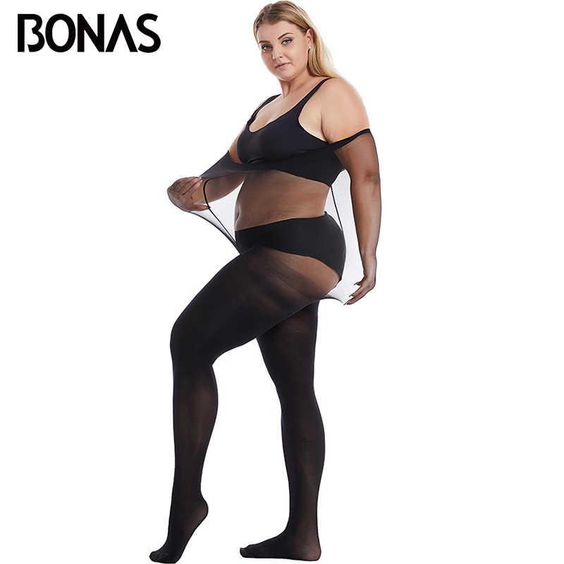 Bonas春 60Dタイツxxxlストッキング弾性にくい女性のセクシーな上のエキストラサイズ黒ストッキング 110 キロcollantファム