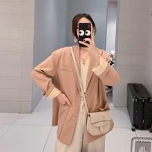Vintage Korean Ladies Blazer Solid Pink Simple Loose Suit Jacket Stylish Chamaras Mujer Casual Spring Women Blazer New MM60NXZ