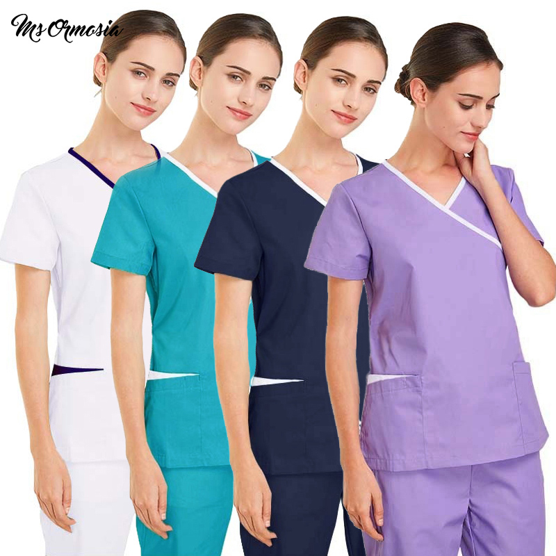 Hospital Doctor Surgery Uniforms Summer V-Neck Silky Stretch Anti-static Beauty Scrubs Medical Uniform Women Sets Surgical Gowns