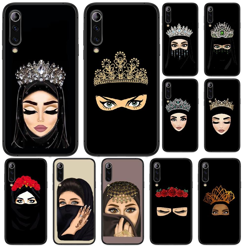 Muslim Islamic Eyes Arabic Hijab Girl Phone case For Xiaomi Mi 6 8 A1 Note3 A2  9 CC9 9T A3 MIX 2 2S 3 9 Lite SE Pro black shell