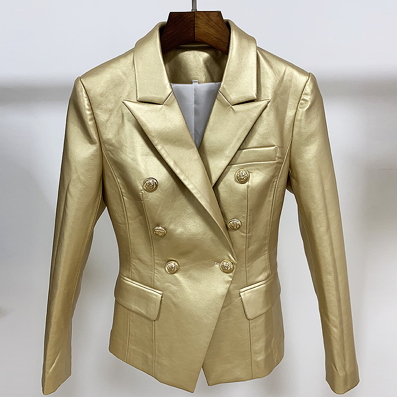 HIGH STREET Newest 2019 Designer Stylish Blazer Women's Lion Buttons Gold Leather Blazer Jacket