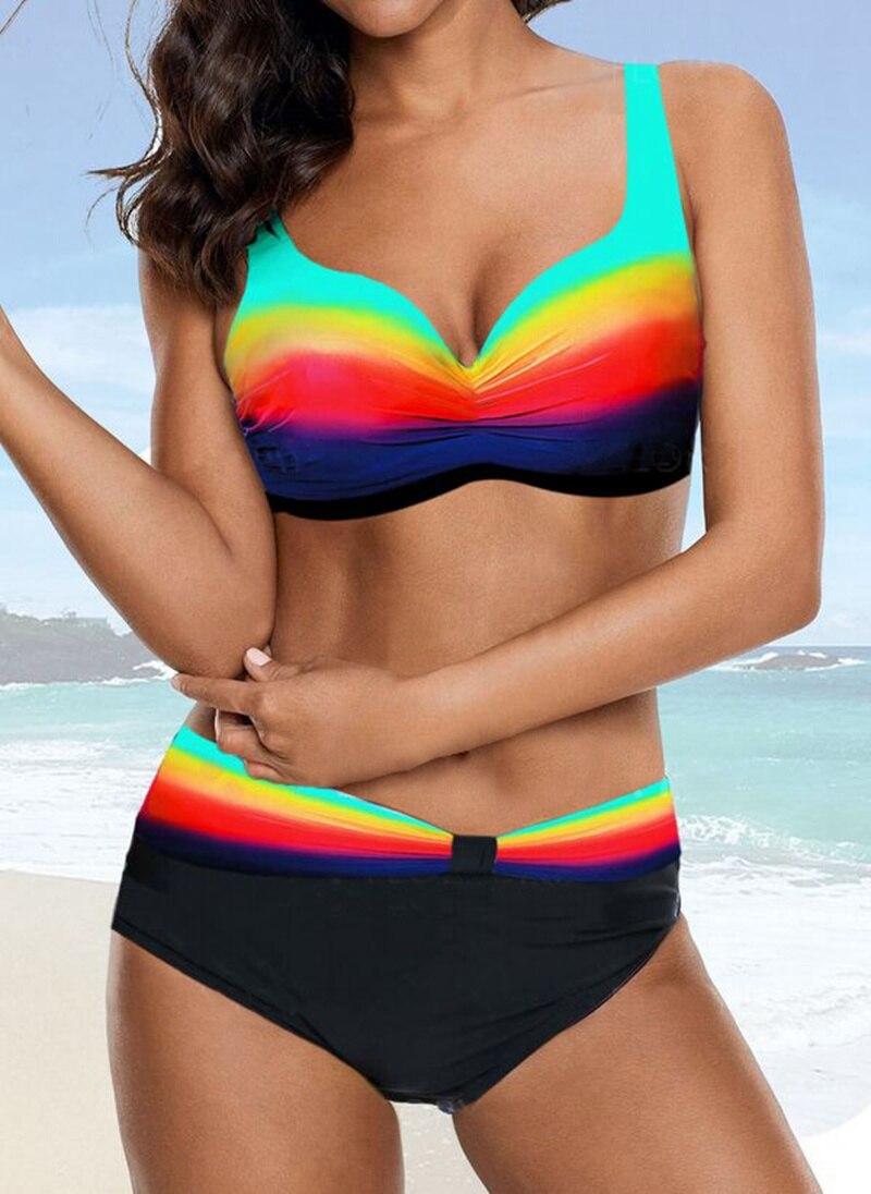 TYAKKVE 2019 new Female Sexy Rainbow Printed Bikini  Swimsuit Women Bathers Beachwear Bikinis S-XXL