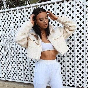 Image 2 - Aproms Fashion Black Pockets Buttons Jackets Women Long Sleeve Slim Crop Top Winter Coat Cool Girls Streetwear Short Jacket 2020
