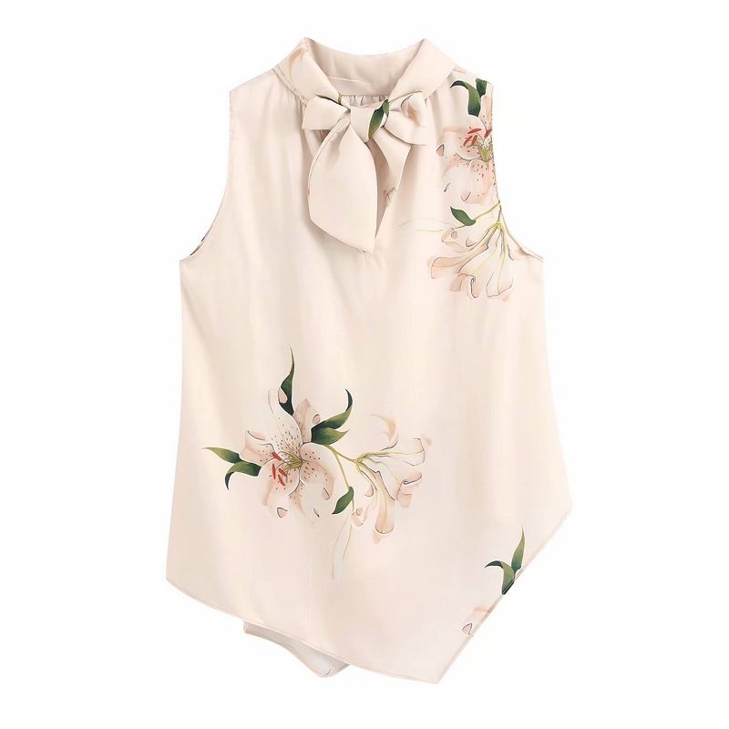 2020 Women Elegant V Neck Bow Tied Flower Print Casual Silk Kimono Blouse Shirt Women Sleeveless Chic Brand Feminina Tops LS6390
