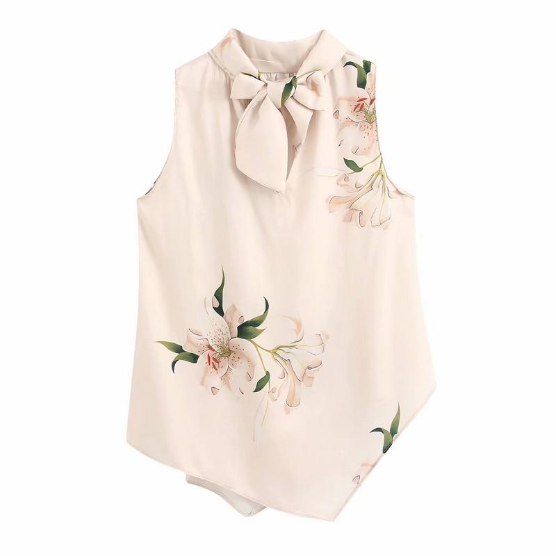 2020 Women Elegant V Neck Bow Tied Flower Print Casual Silk Kimono Blouse Shirt Women Sleeveless Chic Brand Feminina Tops LS6390