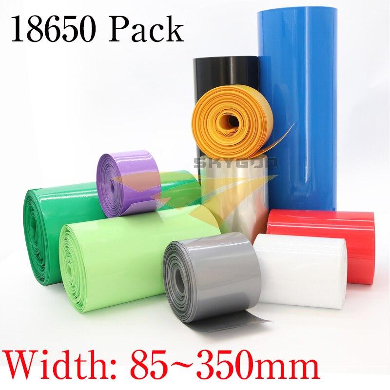 85mm 350 18650mm tubo de psiquiatra de calor da bateria de lítio li-ion envoltório capa pele pvc filme de tubulação shrinkable mangas isolamento bainha