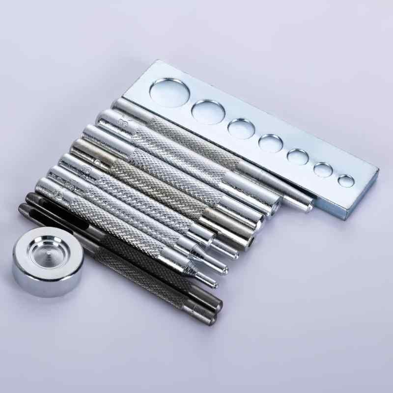 11 unids/set de Metal DIY de cuero Set de herramientas para manualidades morir agujero golpe herramientas de botón conjunto de botones remache Setter Base Kit