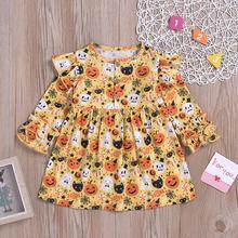 купить Girl Dress 2019 Toddler Kids Baby Girl Clothes Halloween Dress Girls Long Sleeve Cute Pumpkin Ghost Dress дешево