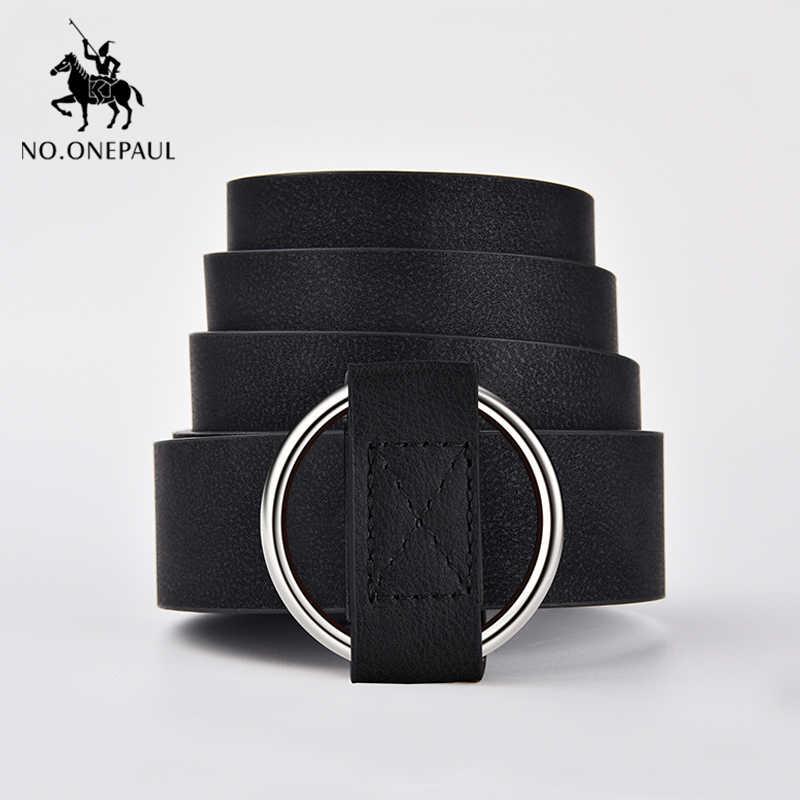 NO.ONEPAUL Genuino di qualità di modo delle signore più recenti ago in metallo rotonda fibbia della cintura dei jeans selvaggio di lusso di marca delle donne della cinghia per