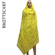 Новые африканские шарфы мусульманские женские шарф хлопок африканские шарфы с бусинами тяжелый хлопок белый шарф Шали Обертывания BM657