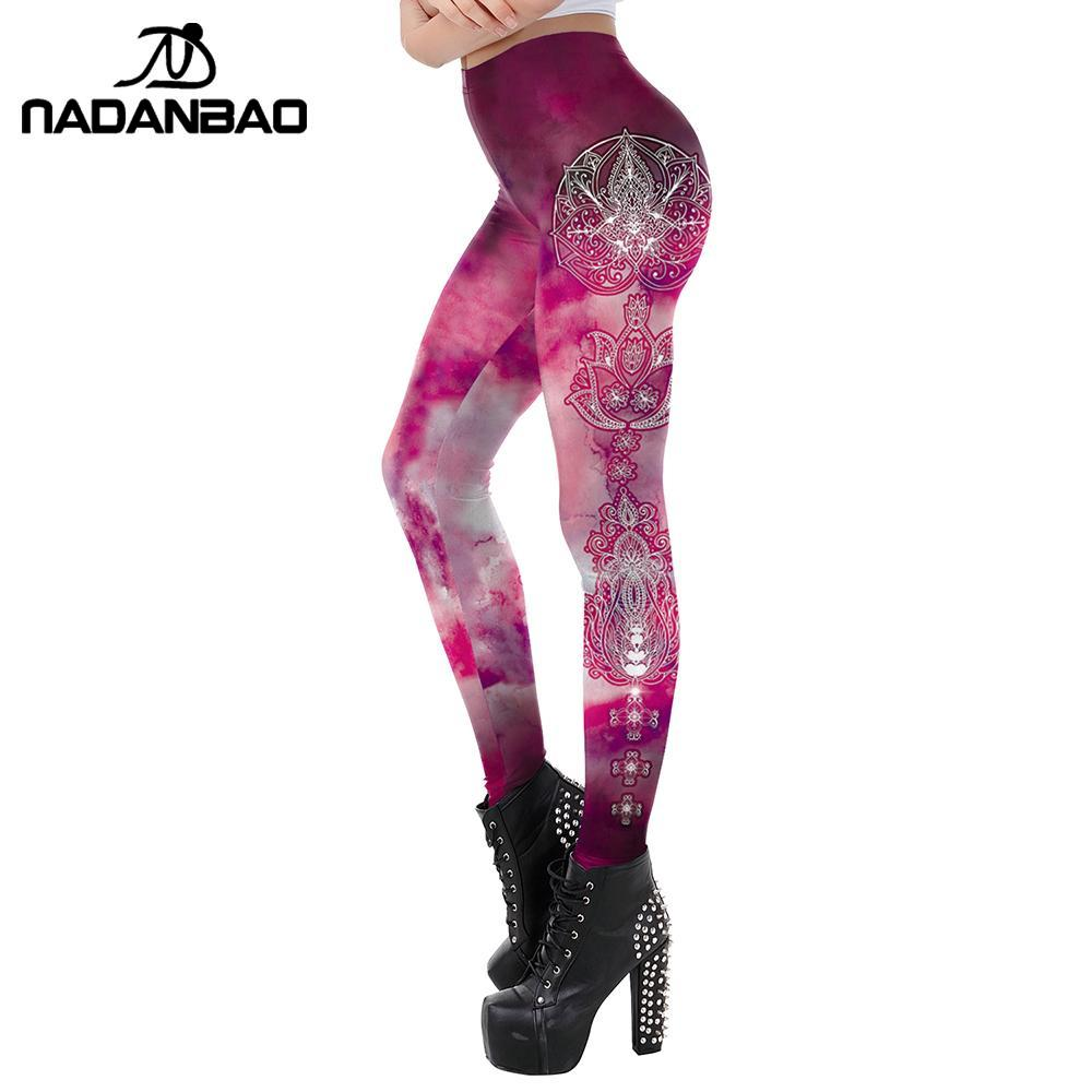 NADANBAO Pink Workout Leggings For Women Mandala Series Fitness Leggins India Aztec Round Ombre Flower Pants Outdoor Mid-Waist
