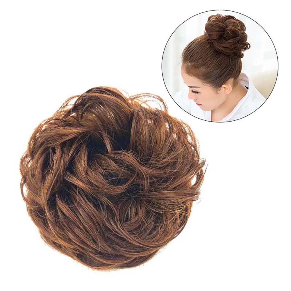 Women Elastic Hair Bun Ponytail Extension Messy Wavy Chignon Hairpiece Accessory High Temperature Fiber Elastic Chignon Elastic