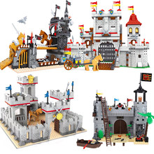 Compatible Legoingly castle knights medieval kingdom princess horse figure Caribbean Pirate sets model building blocks kids toys(China)