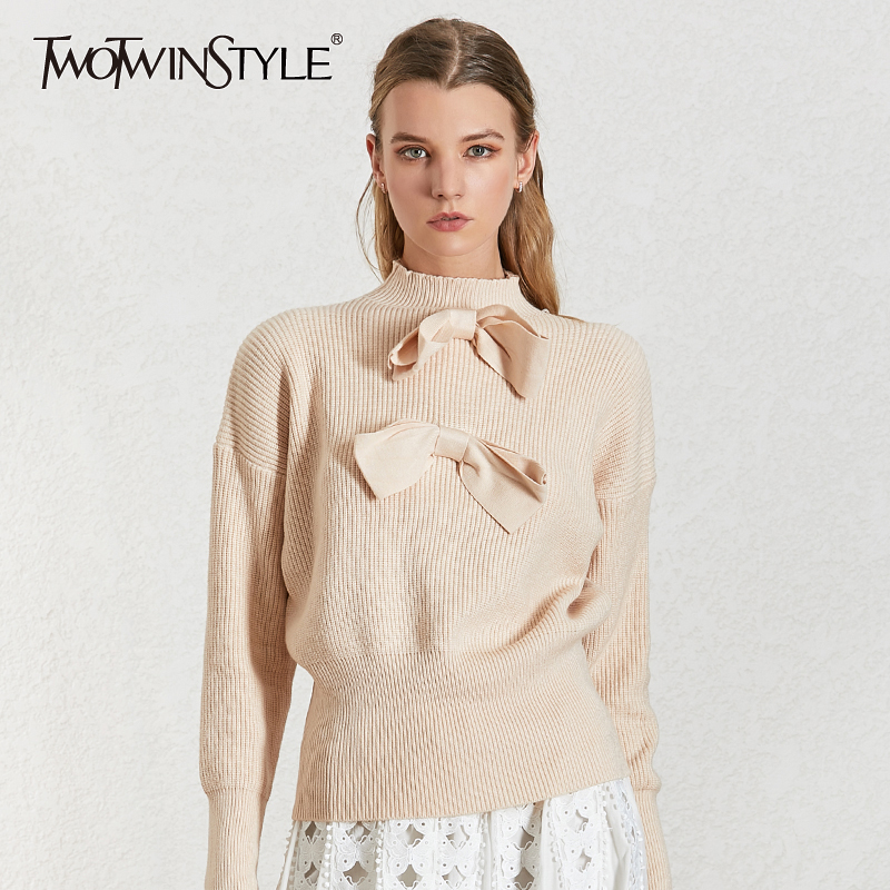 TWOTWINSTYLE Elegant Bow Womens Sweater Turtleneck Lantern Sleeve Pullovers Kintting Sweaters Female 2019 Fashion New Clothing