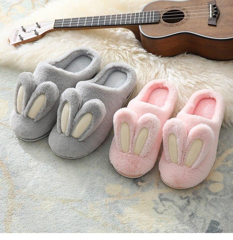 H5811a9b3485f4532a94e0e8b3b2cc2c3J Pantufa Mulheres chinelos de pelúcia inverno quente peludo bonito orelhas de coelho sola macia apartamentos homens mulher casais casa interior quarto senhoras sapatos