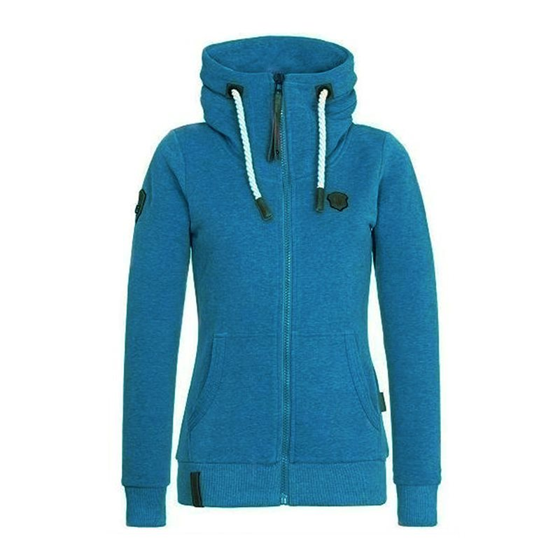 Sisjuly 2019 Autumn Women Hoodie Blue Hooded Zipper Solid Color Casual Tops Warm Velvet Coat Female Sportswear Sweatshirt
