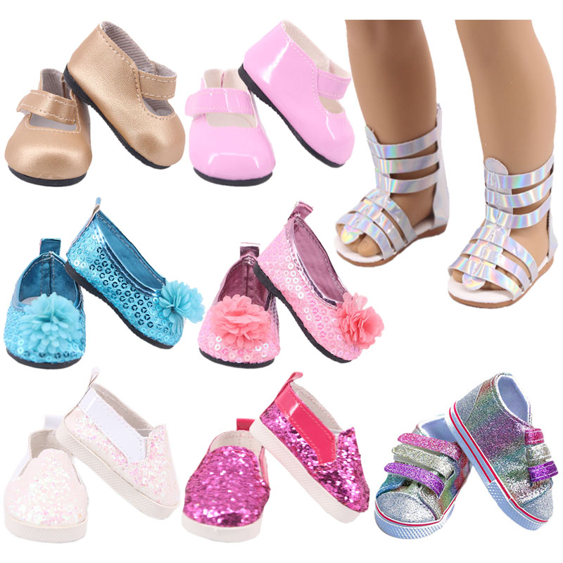 Doll Shoes 7 Cm Sequin Cute Sandals Shoes Boots For 18 Inch American&43 Cm Baby New Born Doll Accessories Girl`s Toy  1/3 Blyth
