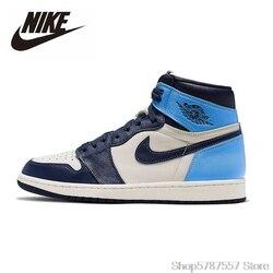 Original Nike Air Jordan 1 Obsidian männer Basketball Schuhe Frauen High-top Bequeme Sport Freien Turnschuhe 555088-140