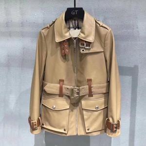 Primavera e outono casaco feminino vestuário de couro da motocicleta real pele carneiro casacos couro genuíno camurça jaqueta magro feminino M-2XL