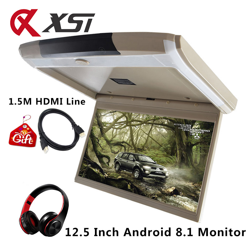 XST 12.5 Inch Android 8.1 Car Ceiling Monitor Mount Roof HD 1080P Video IPS Screen WIFI/HDMI/USB/SD/FM/Bluetooth/Speaker/Game