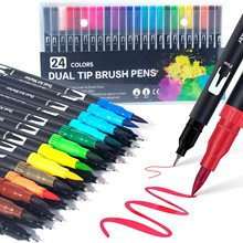 Pen-Set Brush-Markers Pens Fineliner-Tip Dual-Tip Colouring Kids for And Adults