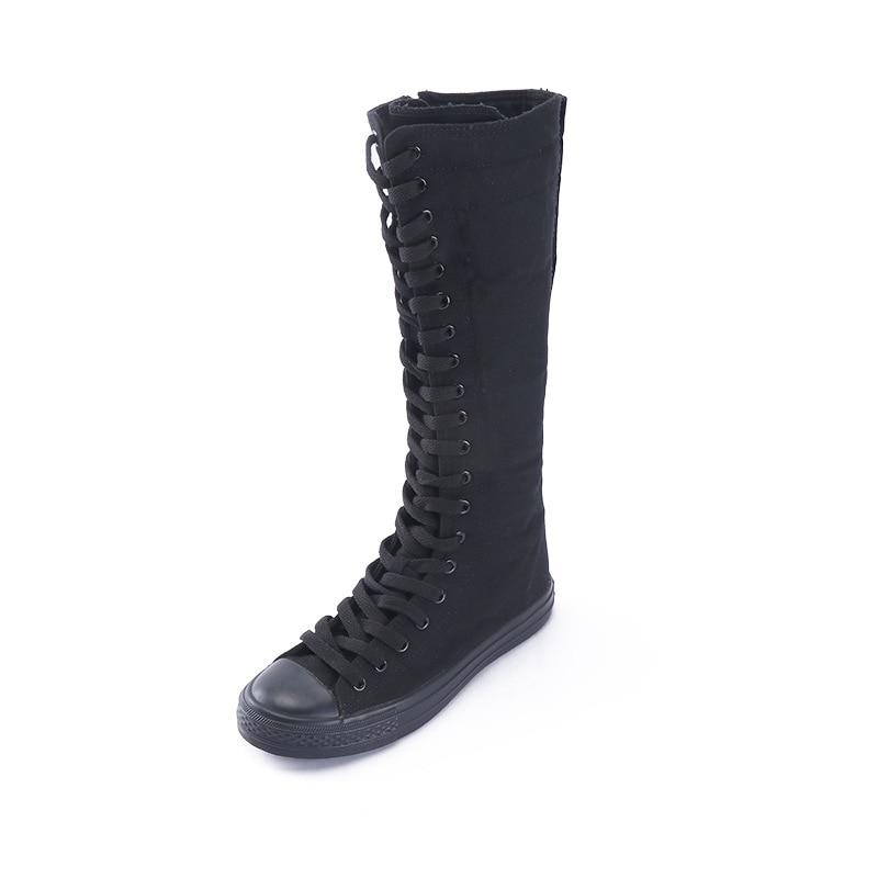 Women Shoes Boots Hight-Top Canvas Shoes Female Student Performance Dance Shoes Side Zipper Canvas Long Boots