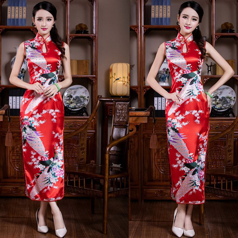 Red Peacock Sleeveless Chinese Dress For Ladies High Split Oriental Vestidos Evening Party Gown Mandarin Collar Classic Qipao