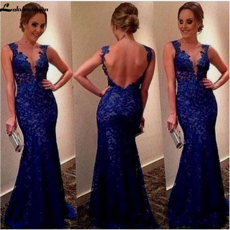 Royal Blue Mermaid Prom Dresses New Sleeveless Scoop Neck Backless Mother Of The Bridal Dresses Formal Party Gown Custom Made