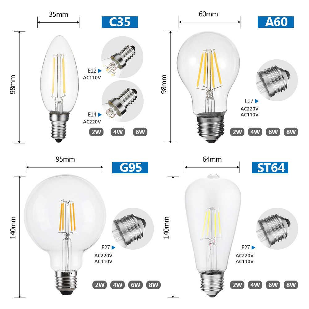 A mené L'ampoule de Filament 2W 4W 6W 8W 220V 110V Rétro Edison lampe à Led E27 G95 A60 ST64 Vintage C35 E14 ampoules Led en forme de bougie Décor À La Maison