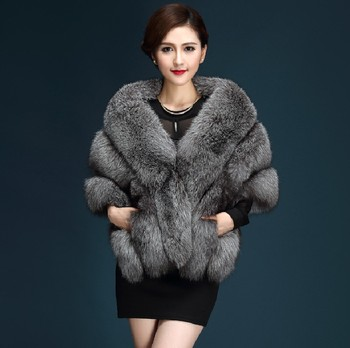 Fashion winter warm leather coat natural fox fur coat real fox fur jacket winter thick warm coat image
