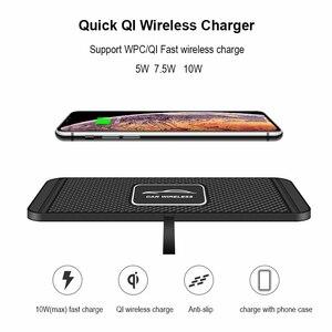 Image 2 - C1 Caricabatteria Da Auto Senza Fili Pad per il iphone 11 Pro Max Samsung S10 Più Huawei QI Wireless Caricabatteria Da Auto Dashboard Storage cassetto