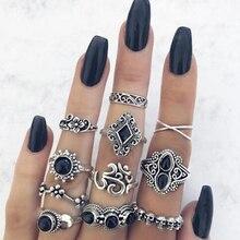 Tocona 11Pcs/set Vintage Antique Silver Color Rhinestone Boho Ring Set for Women Geometric Knuckle Midi Ring Set Anillos 10057