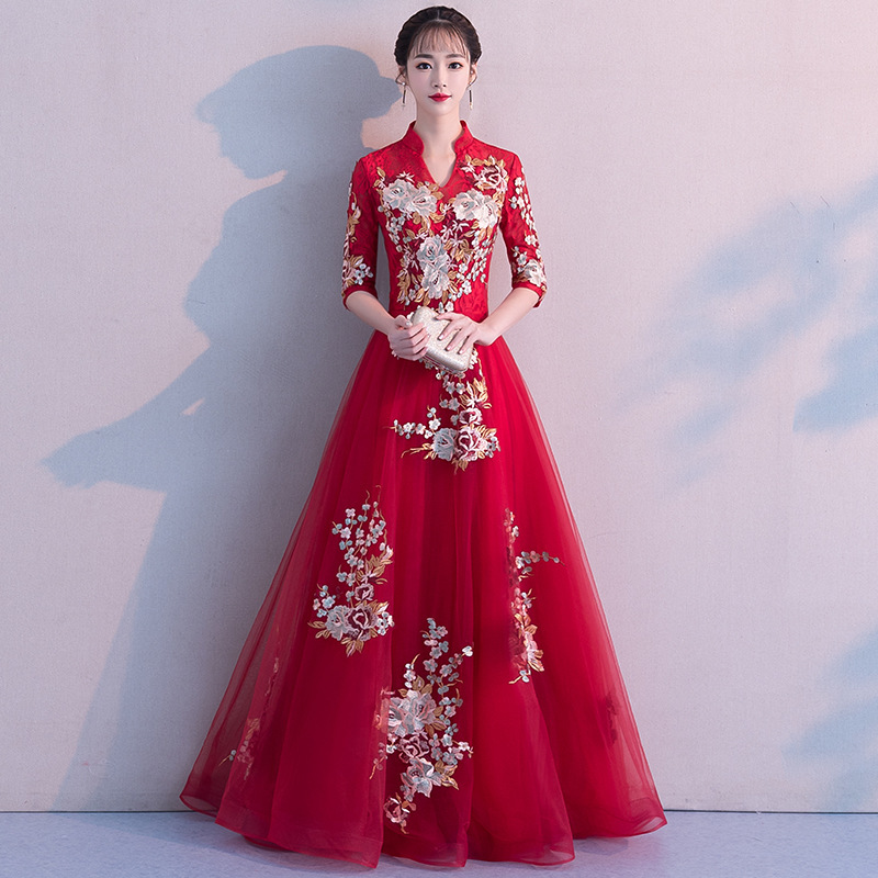 2020 Vestido De Festa Cocktail Dress 2020 New Spring Wedding Toast Long Chinese Sleeve Banquet Back Door Evening Dress Skirt