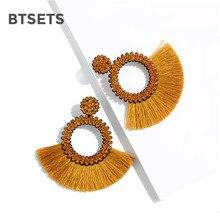 Модные богемные массивные длинные висячие серьги с бахромой для женщин геометрические ручной работы большие серьги с кисточками со стразами ювелирные изделия