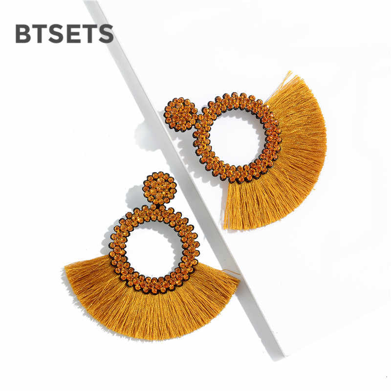 Fashion Bohemian Statement Long Fringe Drop Earring for Women Geometric Handmade Big rhinestone Tassel Earrings Jewelry