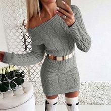 2019 Autumn Winter Long Sweater Dress Women Warm Thicken Off Shoulder Sweater Ladies Long Sweater Women Knitted Sweater Dresses