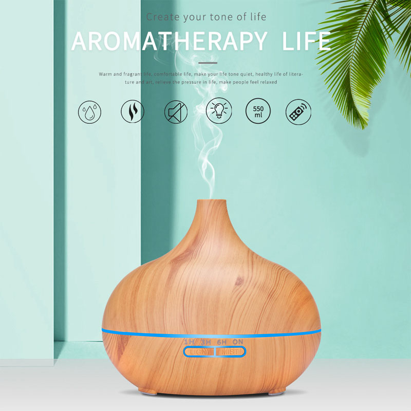 550ml Aromatherapy Essential Oil Diffuser Wood Grain Remote Control Ultrasonic Air Humidifier Cool Mister With 7 Color Led Light Humidifiers Aliexpress