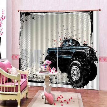 Car 3D Curtains Photo For Living Room Bedroom Home Decoration Customize Blackout Curtains Window