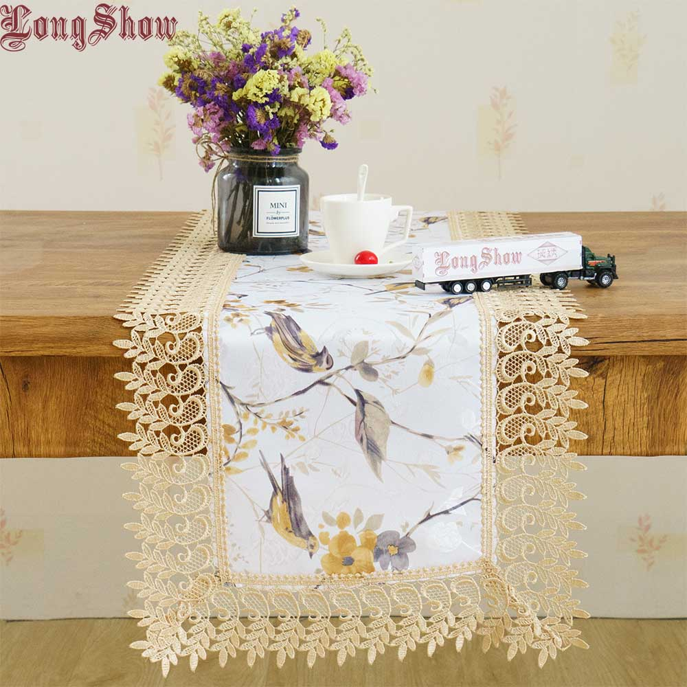 LongShow Elegant Floral Sparrow Jacquard Table Runner With Embroidered Lace