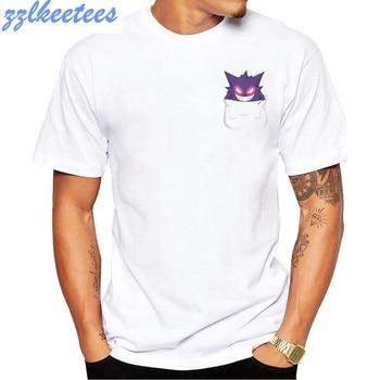 2020 New Fashion Pocket Gengar Evolution Design Men's T Shirt Short Sleeve Boy Cool Tops Hipster Pokemon Printed T-shirt 1