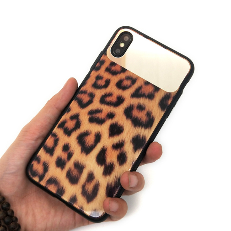 Image 2 - wholesale!!! 10pcs/set women leopard mirror toughened glass back cover case For iPhone X XR XS Max 8 7 Plus lady phone back case-in Fitted Cases from Cellphones & Telecommunications