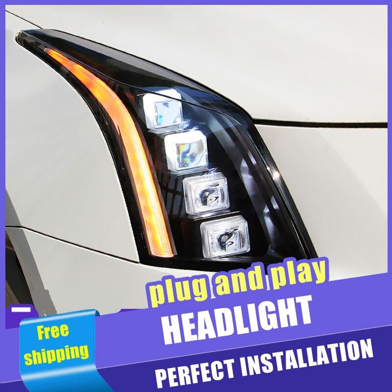 2 pièces voiture Style LED phares pour Cadillac ATS 14-18 pour ATS lampe frontale tout LED DRL lentille Double faisceau H7 caché xénon bi xénon lentille
