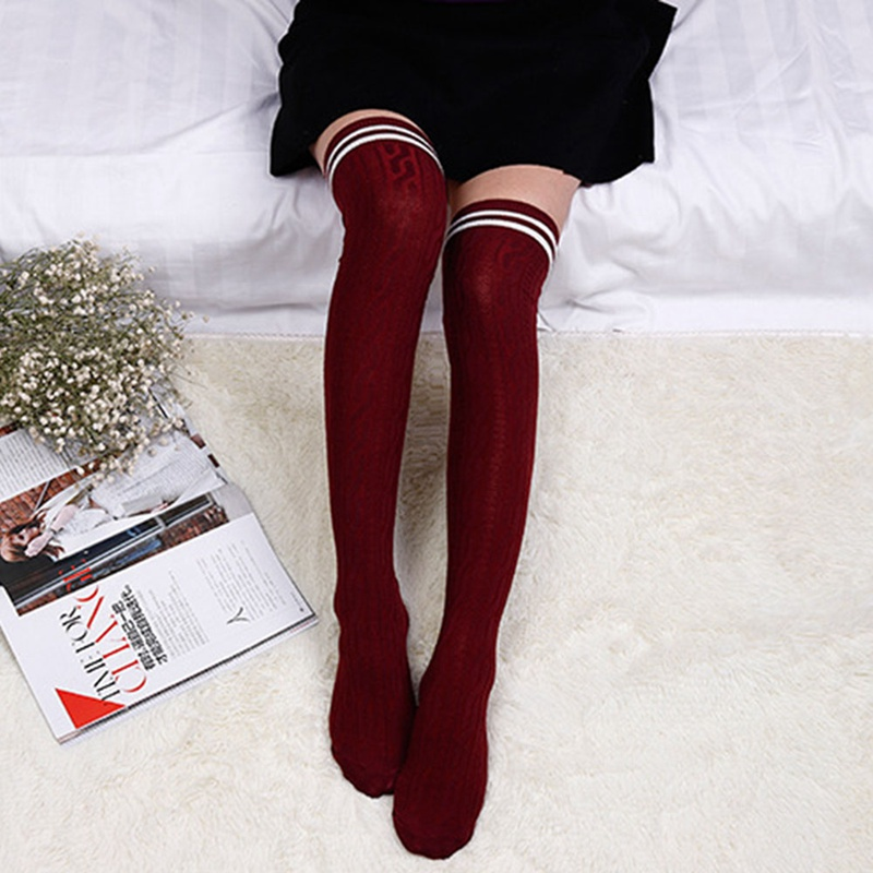 Women Girl Stripe Stripy Striped Over The Knee Thigh High Stockings