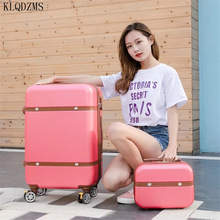 KLQDZMS 20''22''24''26 Inch ABS Men Vintage Trolley Luggage Set Retro  High Quality  Women Suitcase On Wheels  With Cosmetic Bag