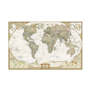 5x3feet Vintage Classic Edition World Wall Maps Non-woven World Map Without National Flag Antique Poster Painting for Beginner world in maps